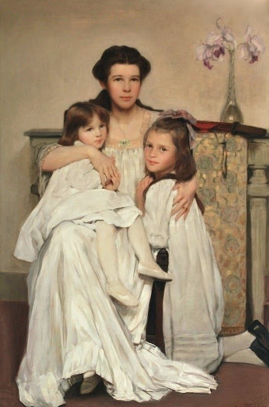 ~ William Sergeant Kendall ~ American artist, 1869-1938: Artist's Wife with Daughters