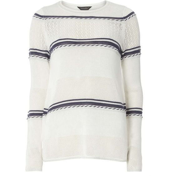Dorothy Perkins Ivory and Blue Striped Jumper ($34) ❤ liked on Polyvore featuring tops, sweaters, white, blue top, acrylic sweater, winter white sweater, dorothy perkins and jumpers sweaters