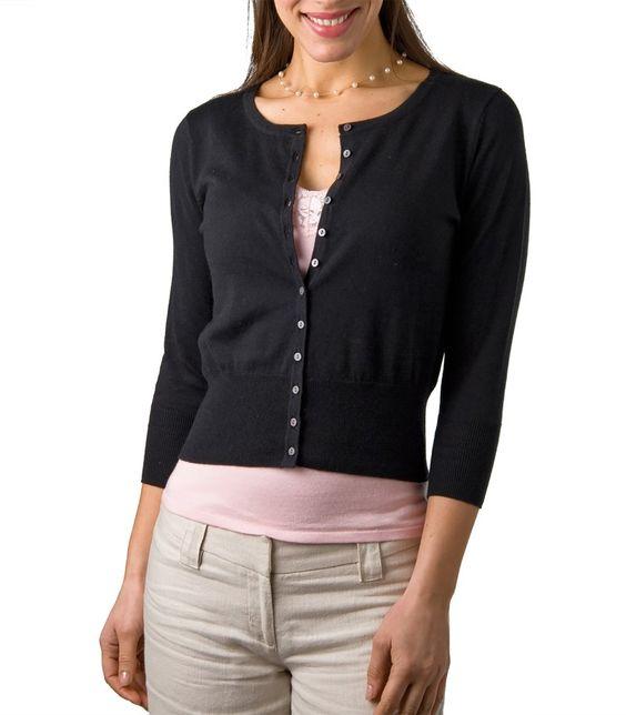 Black Cropped Cardigan   Crew Neck   Women's   Silk & Cotton   Wool Overs