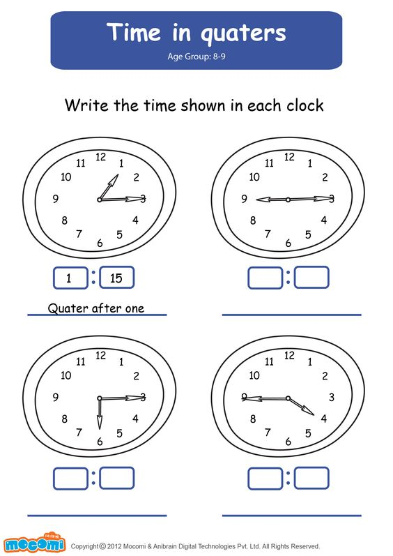 Time In Quarters - Math Worksheet for Kids. For more interesting ...