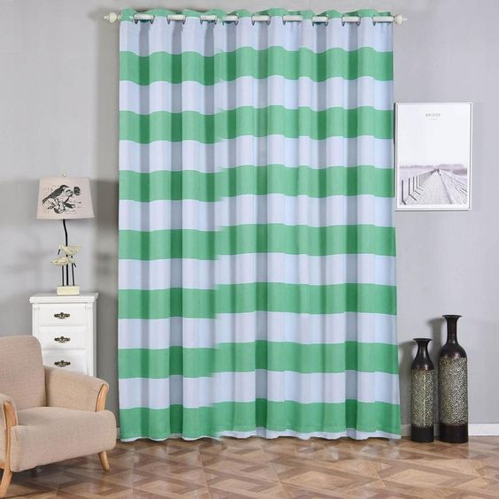 Cabana Stripe Curtains Pack Of 2 White Mint Blackout