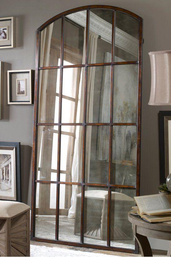 Emil Antique Leaner Mirror Window Pane Mirror Soft