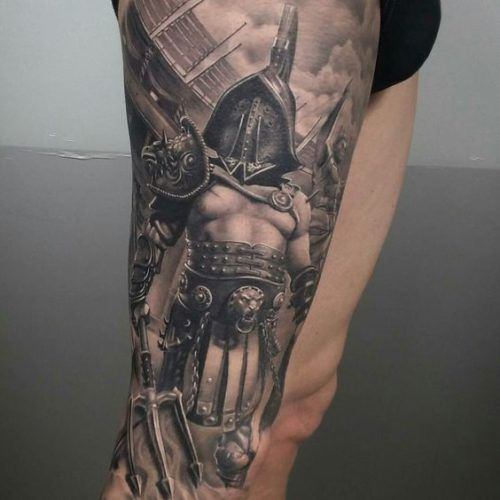 Tatuajes En La Pierna Para Hombres Con Los Mejores Disenos Tatuaje De Gladiador Tatuajes Pierna Tatuajes De Guerreras