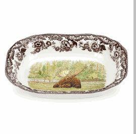 "Woodland Moose Open Vegetable Dish 9.5"""