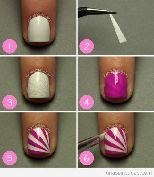 Tutorial paso a paso, decoración de uñas a rayas con cinta adhesiva