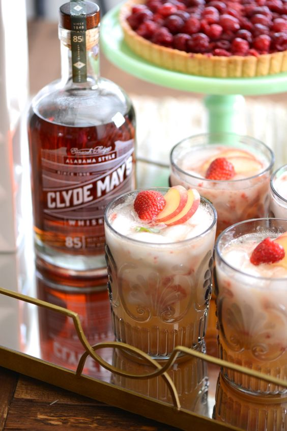 whiskey smash and more whiskey peaches strawberries cocktail recipes ...