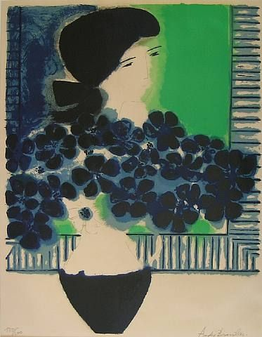 Woman with bouquet, André Brasilier. French born in 1929.