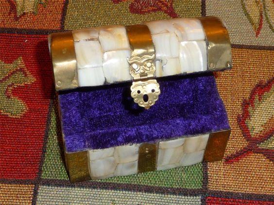 Sold = Vintage Brass & Mother of Pearl Treasure Chest / Trinket Box ~ Purple Inside