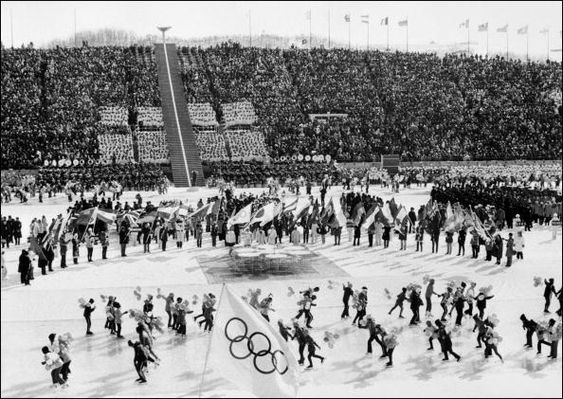 Skaters dance on ice during the opening ceremony o