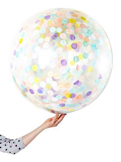 90cm Pastel Confetti Balloon with matching Ribbon