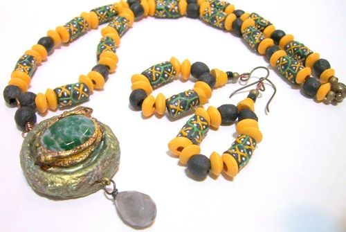 """17"""" Length handmade Necklace with matching pair of 2 1/2"""" earrings  