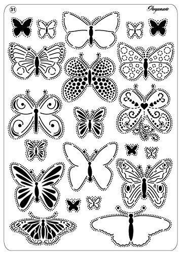Pergamano Diagonal Grille Multi motifs Papillons 2 31 pour relief et perforation Blanc: