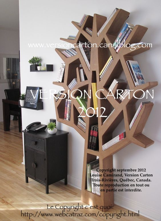 arbre carton mobilier tag re rangement cd dvd livres. Black Bedroom Furniture Sets. Home Design Ideas