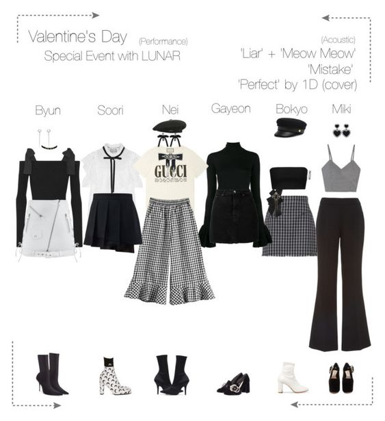 """Lunar (루나) Valentine's Day Special Event"" by lunar-official ❤ liked on Polyvore featuring Moschino, Thom Browne, ADAM, MM6 Maison Margiela, Yeezy by Kanye West, IRO, Sea, New York, Forever 21, Gucci and MSGM"