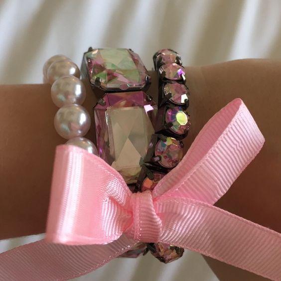 Pink Bracelet Set Rhinestone and Pearl Pink Bracelet Set Jewelry Bracelets