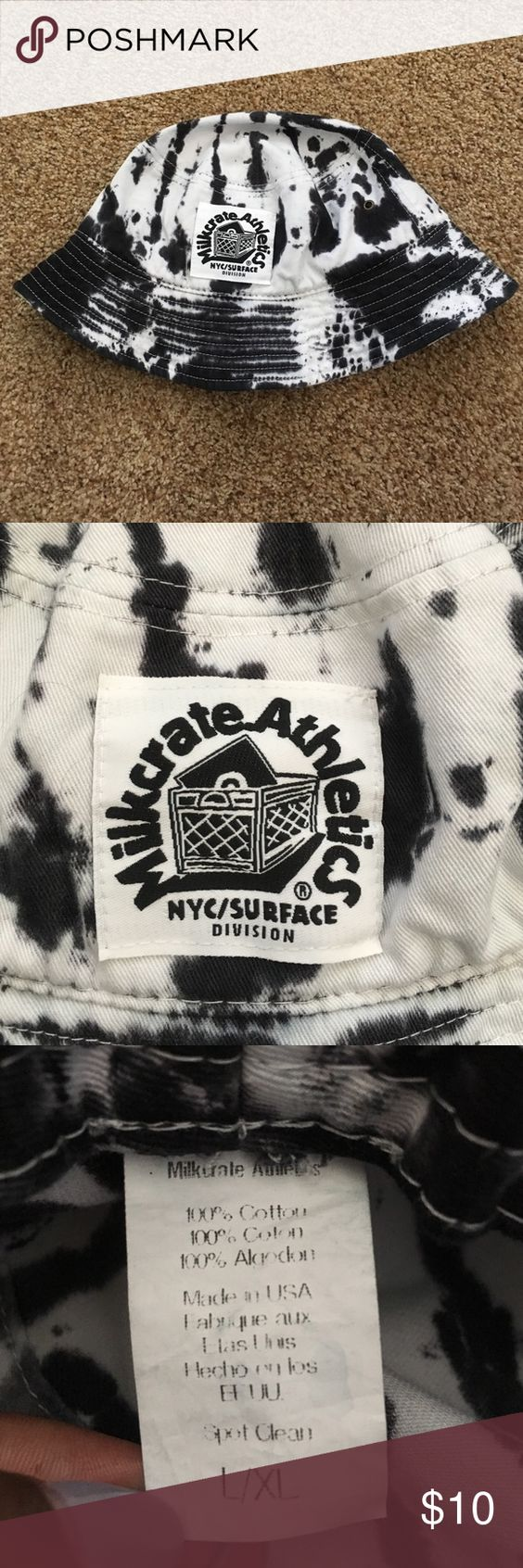 BLACK AND WHITE TIE-DYE BUCKET HAT Schoolboy Q style. Milkcrate Athletics is notorious for making the dopest urban hats. This black and white bucket hat will compliment anyone. Will fit those with bigger heads or bulkier hair. Purchased at UO Urban Outfitters Accessories Hats
