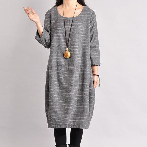 Women Cotton Linen Dress Loose Dress Autumn Dress 3/4 Sleeve Dress Large Size Dress - Buykud- 1
