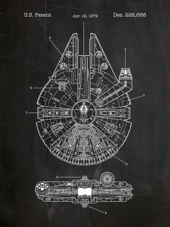 Millenium Falcon Star Wars Patent 18x24 screen print decoration technical design blueprint schematic retro educational cool screenprint