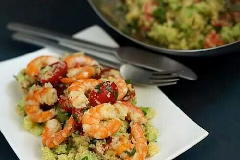 Couscous salad with shrimp