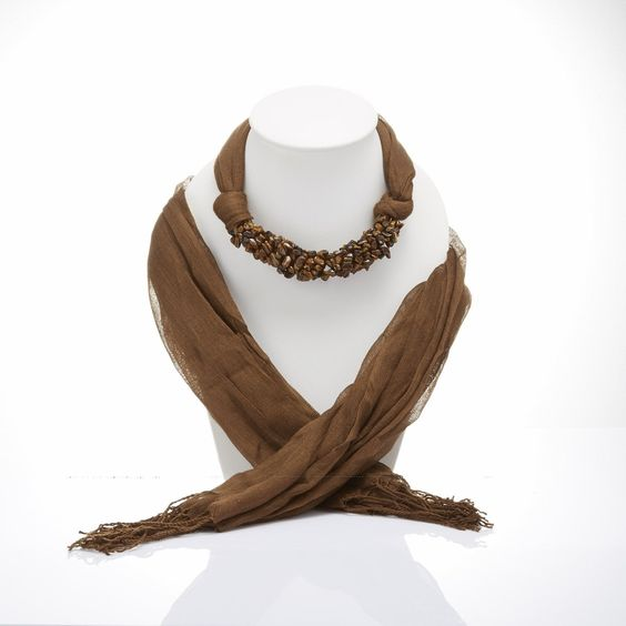 Brown Scarf Decorated With Tiger eye