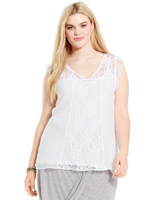 Junarose Plus Size Flutter-Sleeve Lace Top