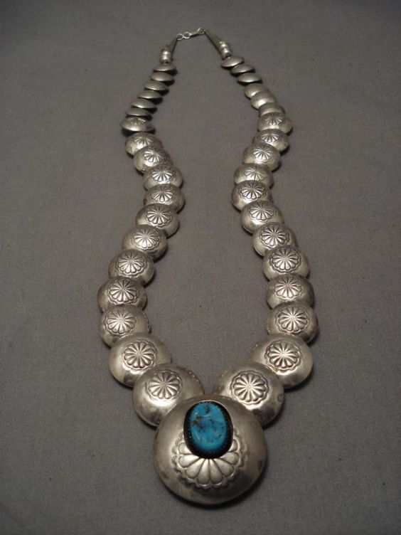 """QUALITY VINTAGE NAVAJO """"FLAT TUBULE"""" TURQUOISE SILVER BEAD NECKLACE OLD KINGMAN TURQUOISE, LARGE REPOUSSED"""
