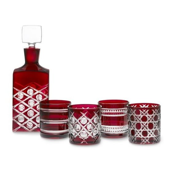 Mixed Cut Double Old-Fashioned & Decanter Gift Set, Garnet (€135) ❤ liked on Polyvore featuring home, kitchen & dining, drinkware, vintage decanter, cut glass decanter, vintage red glassware, red glassware and vintage cut glass decanter