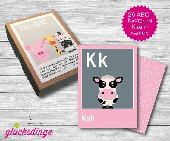 26x ♥ Tier-ABC-Karten ♥ im Kraftkarton von j-designerie - FEINE DRUCKSACHEN auf DaWanda.com