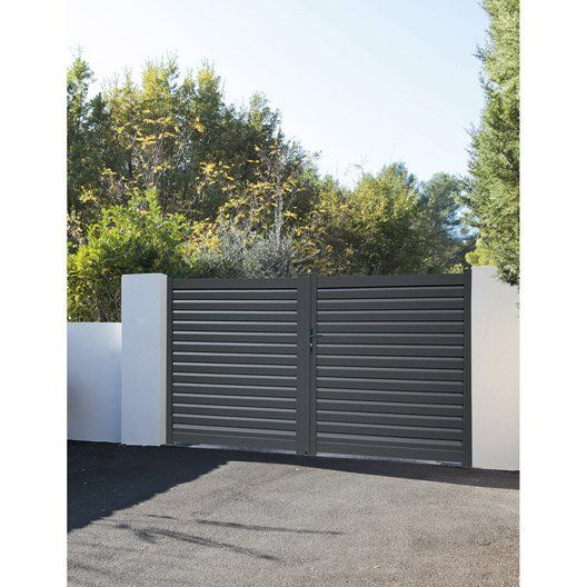 Portail Battant Aluminium Elys Gris Naterial L 300 Cm X H 153 Cm Iron Gate Outdoor Decor Outdoor