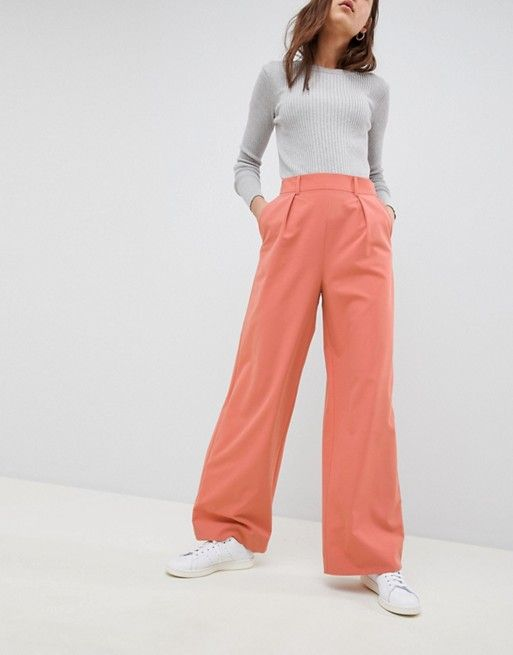 ASOS | ASOS DESIGN wide leg trousers with pleat detail