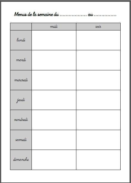 Planning des menus de la semaine organisation vie - Planning organisation menage ...