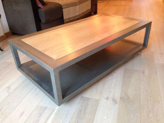 Table basse sur roulettes en acier poli vernis et plateau - Table chene acier ...