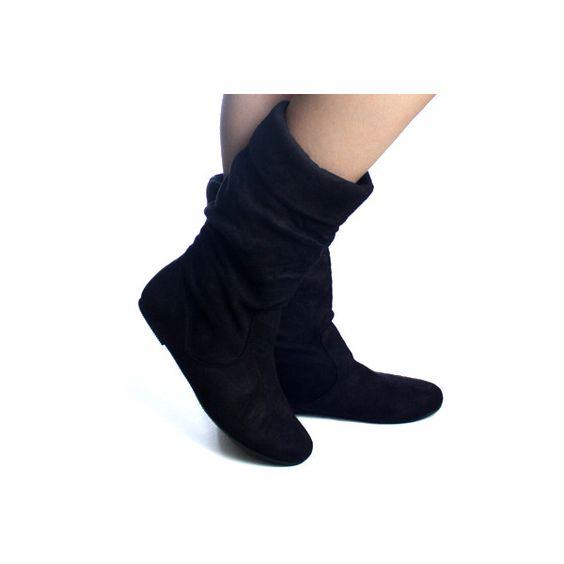 black suede fold slouch scrunch soft designer flat