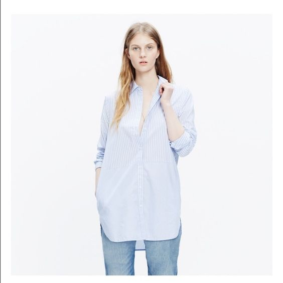 New Madewell striped tunic shirt New Madewell striped button down tunic length shirt - with tags. Size XS. Madewell Tops Button Down Shirts