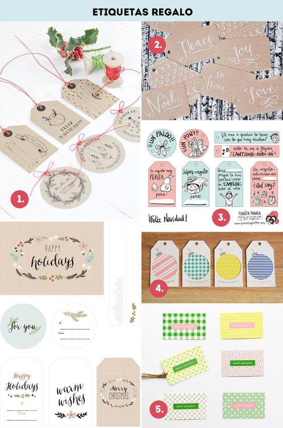Etiquetas papel de regalos y cajas imprimibles y gratis que esta la cosita mala para que este - Sobre de navidad para imprimir ...