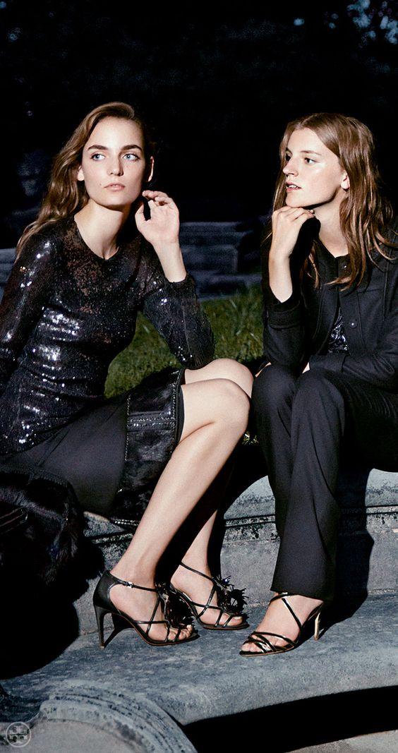 Black strappy heels go ladylike or tomboy: Tory Burch Emmanuelle Sandal & Breanna Sandal