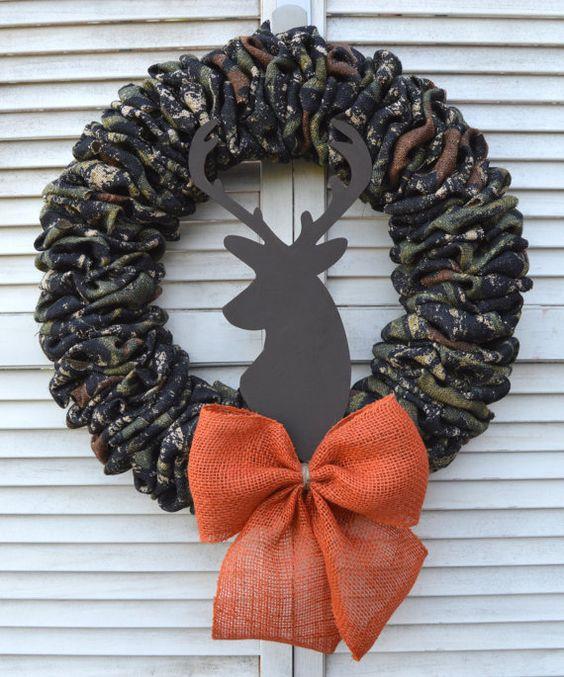 Deer Wreath  Buck Wreath  Camouflage Burlap by EllitonCrossing