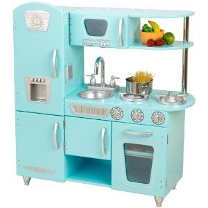 Aqua Retro Wood Play Kitchen for Toddlers