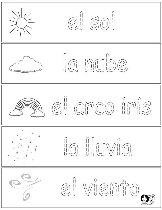 Spring Printouts Spanish ~ Spanish for Kids ~ http://www.chillola.com