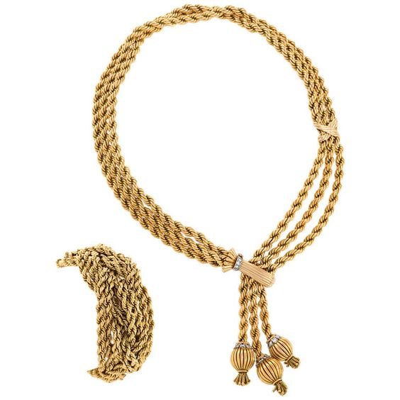 Marchak Mid 20th Century Diamond Gold Necklace and Bracelet | 1stdibs.com