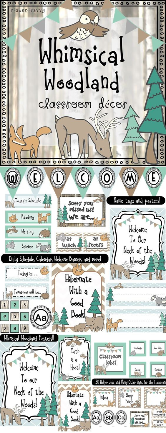 Woodland Classroom Decor ~ Neutral color scheme happenings and classroom on pinterest