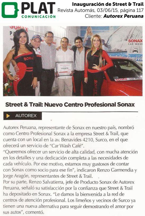 Autorex Peruana: Inauguración de Street & Trail en la revista Automás (03/06/15)