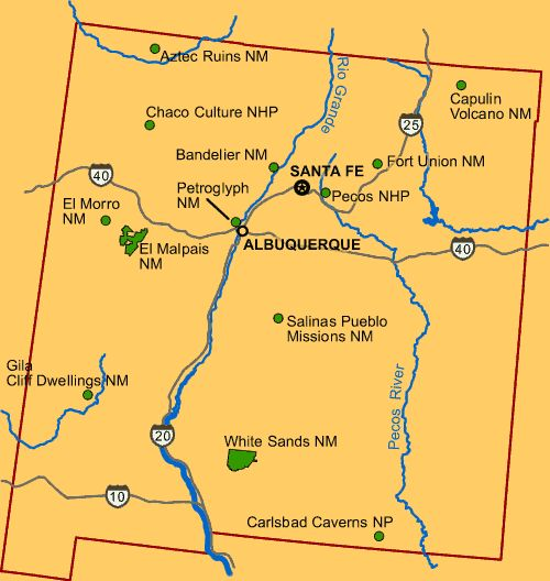 Map of New Mexico locating national parks and monuments  New