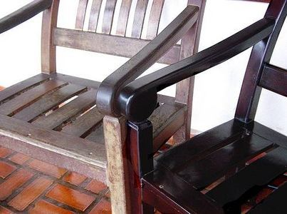 cleaning the sticky stuff off wooden chairs.  my kitchen chairs need this!