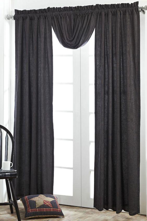 Arlington Window Panels Set Rustic Primitive Navy Blue Tan Plaid Lined Curtains