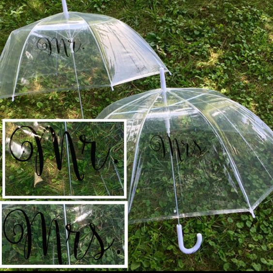 Mr. and Mrs. bubble umbrellas