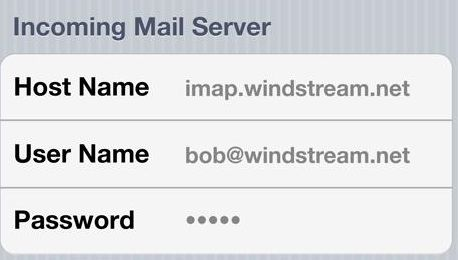 Windstream Email Settings For Android- Incoming server settings