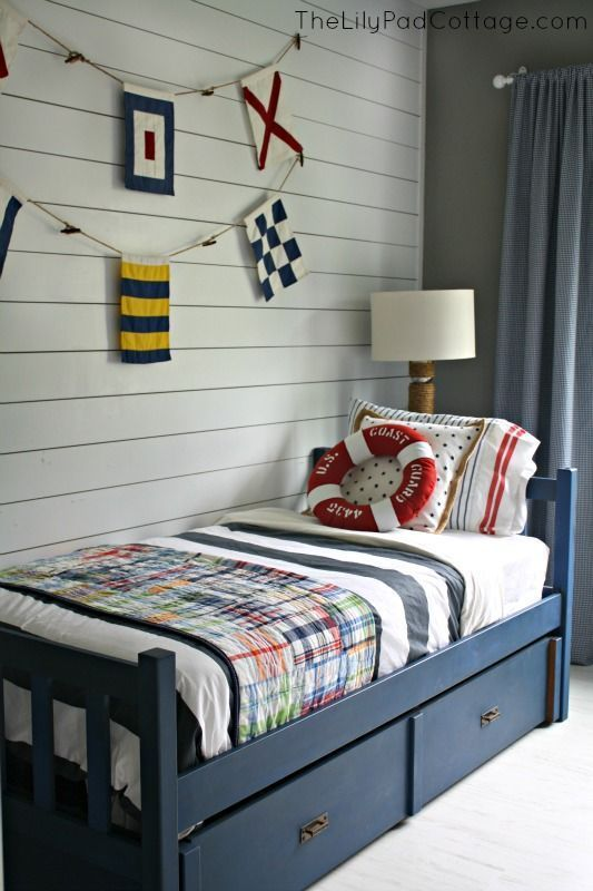 Annie Sloan Chalk Painted Bed Take 2 The Lilypad Cottage Painted Beds Nautical Big Boy Room Annie Sloan Chalk Paint Bed