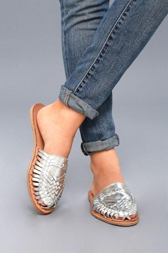 Baines Silver Leather Huarache Slides