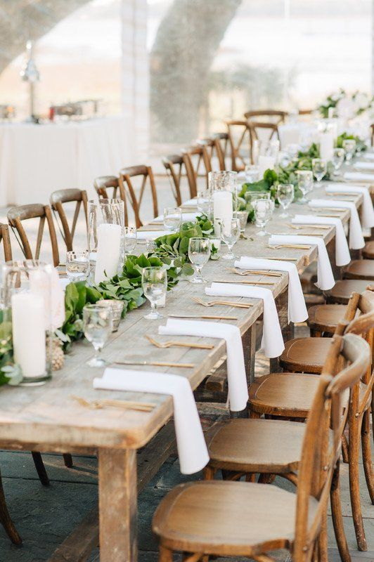 Simple Wedding Reception Decor Idea Long Wooden Tables With